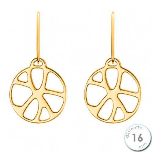 Boucles d'oreilles Les Georgettes motif nénuphar finition Or jaune diamètre 16 mm