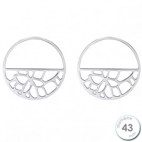 Boucles d'oreilles Les Georgettes motif nénuphar finition argent diamètre 43 mm