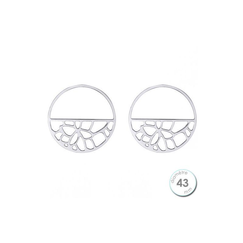 Boucles d'oreilles Les Georgettes motif ruban finition argent diamètre 43 mm