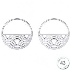 Boucles d'oreilles Les Georgettes motif poissons finition argent diamètre 43 mm