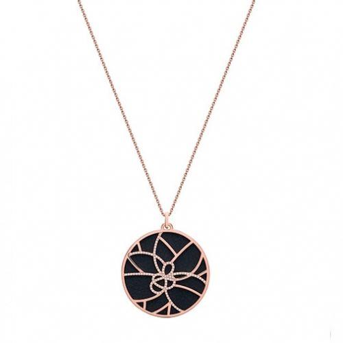 Collier femme Les Georgettes précieuses finition Or rose motif pétales et cuir reversible