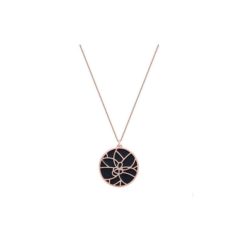 Collier femme Les Georgettes précieuses finition Or rose motif girafe et cuir reversible