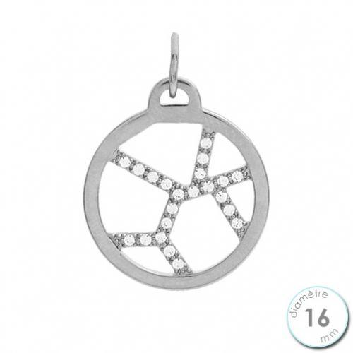 Pendentif femme Les Georgettes précieuses finition Argent motif girafe diamètre 16 mm