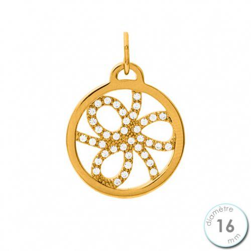 Pendentif femme Les Georgettes précieuses finition Or jaune motif pétales diamètre 16 mm