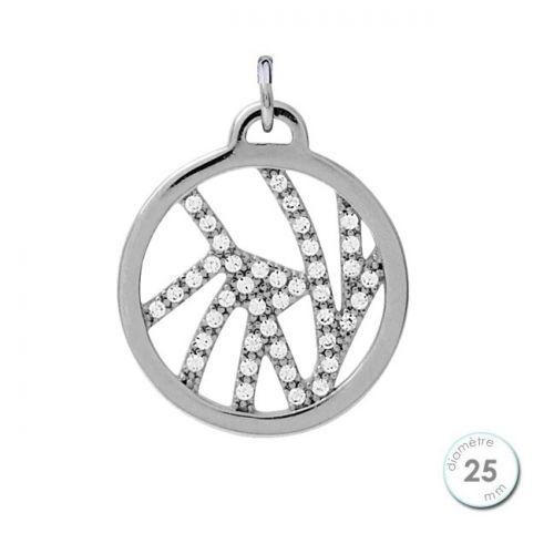 Pendentif femme Les Georgettes précieuses finition Argent motif perroquet diamètre 25 mm