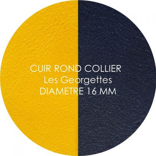 Cuir reversible les Georgettes sun/marine pour collier diamètre 16 mm