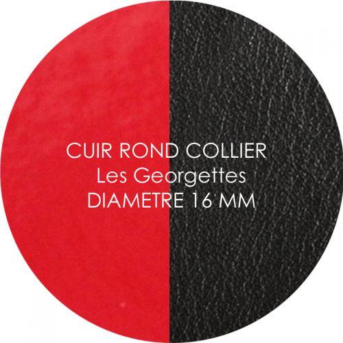 Cuir reversible les Georgettes rouge vernis/noir pour collier diamètre 16 mm