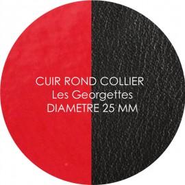 Cuir reversible les Georgettes rouge vernis/noir pour collier diamètre 25 mm