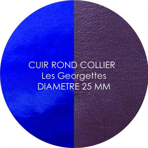 Cuir reversible les Georgettes prune/vernis bleu pour collier diamètre 25 mm