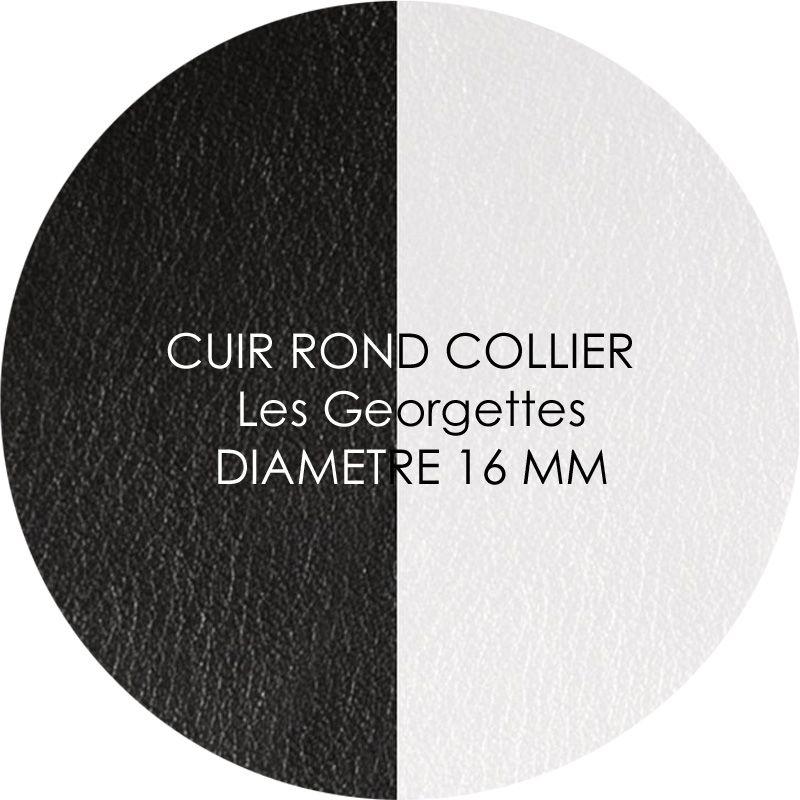 Cuir reversible les Georgettes noir/blanc pour collier diamètre 16 mm