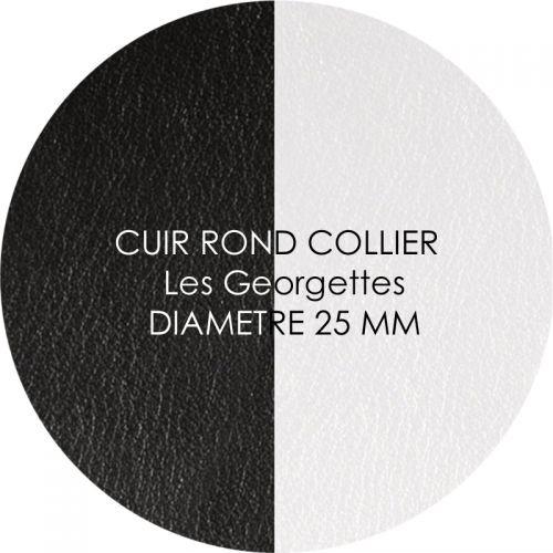 Cuir reversible les Georgettes noir/blanc pour collier diamètre 25 mm