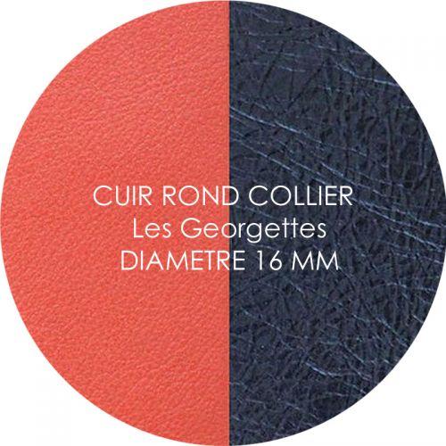 Cuir reversible les Georgettes corail/marine métal pour collier diamètre 16 mm