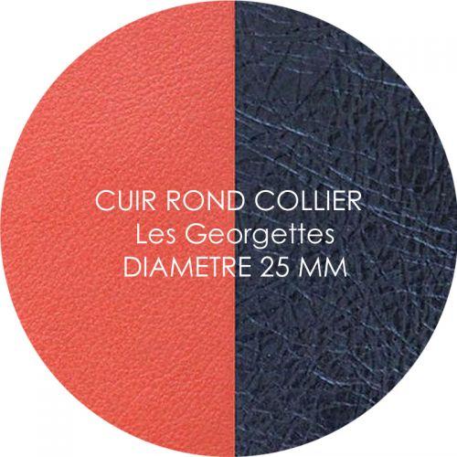 Cuir reversible les Georgettes corail/marine métal pour collier diamètre 25 mm