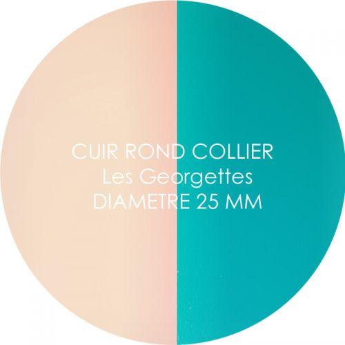 Cuir reversible les Georgettes nude/aquatic pour collier diamètre 25 mm