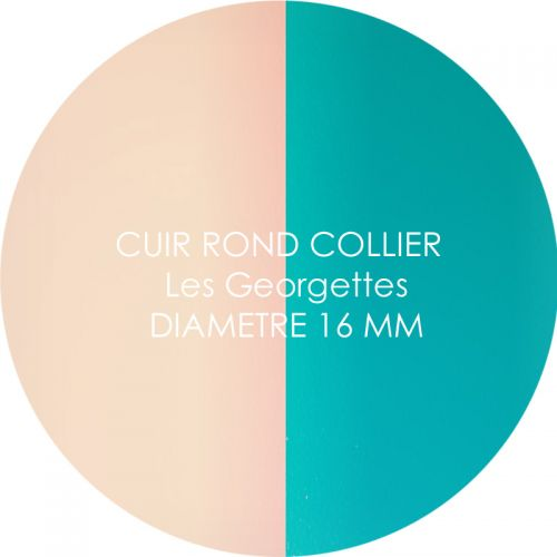 Cuir reversible les Georgettes nude/aquatic pour collier diamètre 16 mm