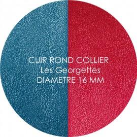 Cuir reversible les Georgettes bleu/framboise pour collier diamètre 16 mm