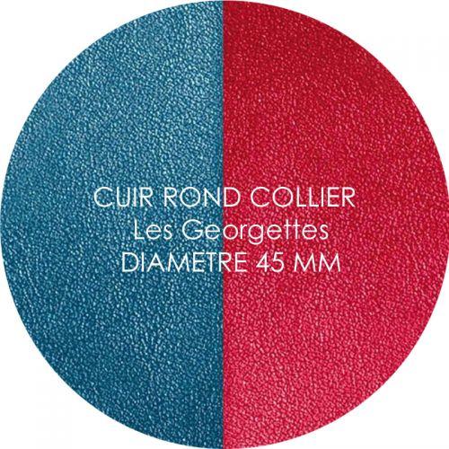 Cuir reversible les Georgettes bleu/framboise pour collier diamètre 45 mm