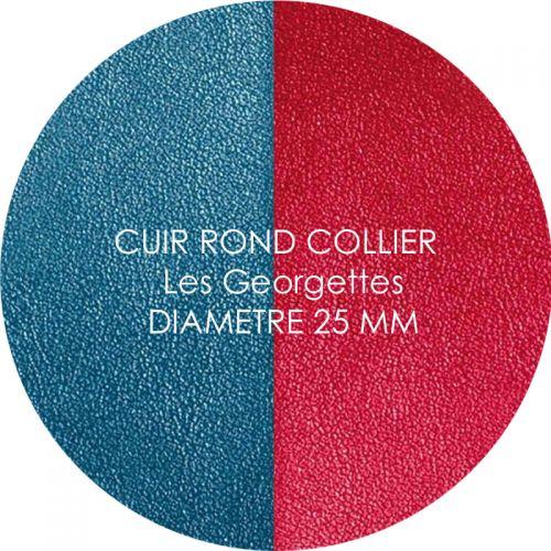 Cuir reversible les Georgettes bleu/framboise pour collier diamètre 25 mm