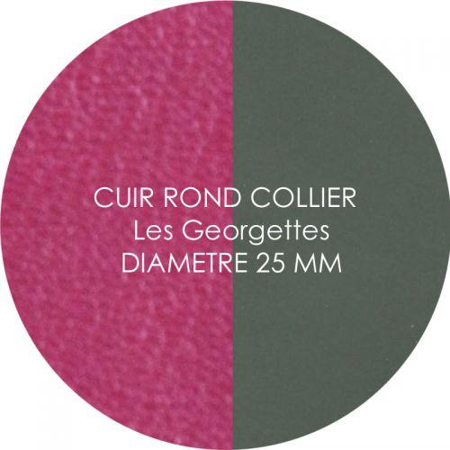 Cuir reversible les Georgettes fuchsia/kaki pour collier diamètre 25 mm