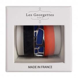 Coffret bracelet manchette Les Georgettes + 3 cuirs réversible finition Argent small