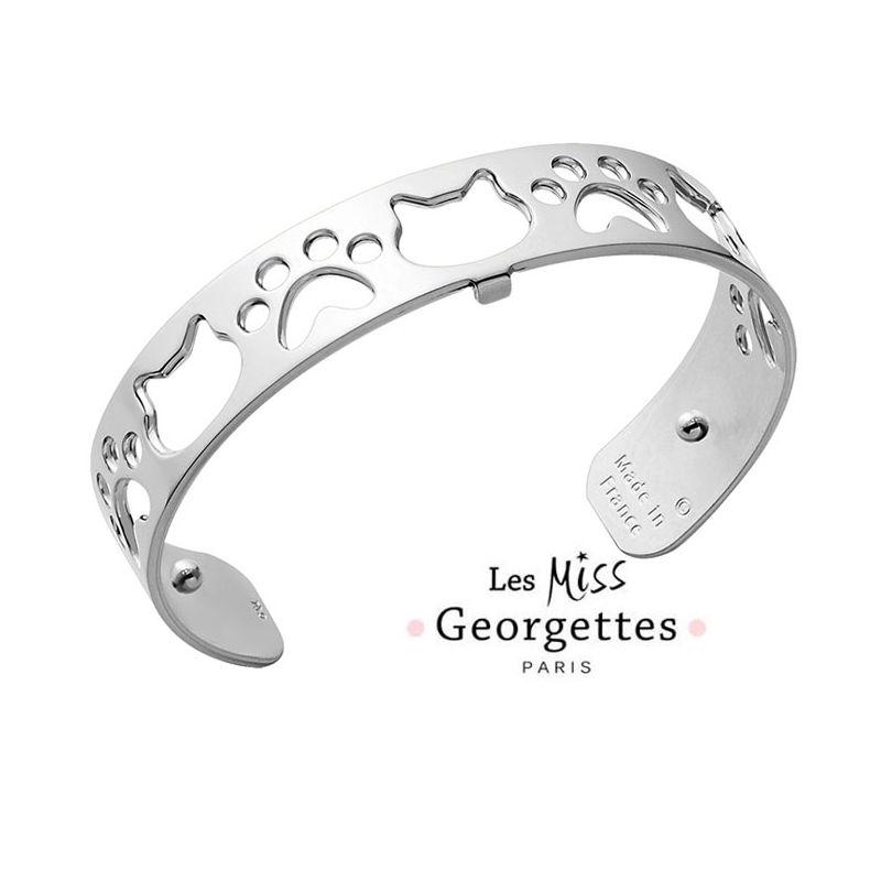 Bracelet manchette miss Les Georgettes motif chat finition Argent