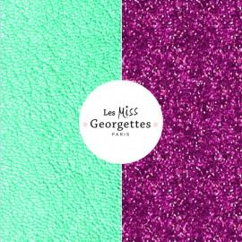 Cuir reversible miss les Georgettes Turquoise Sirène/Paillettes Violettes