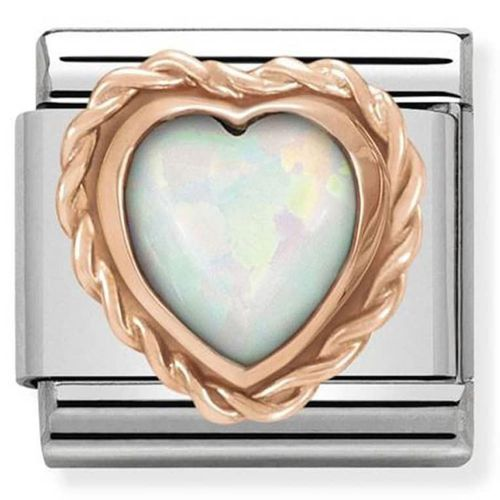 Maillon Nomination classic coeur opale en Or rose
