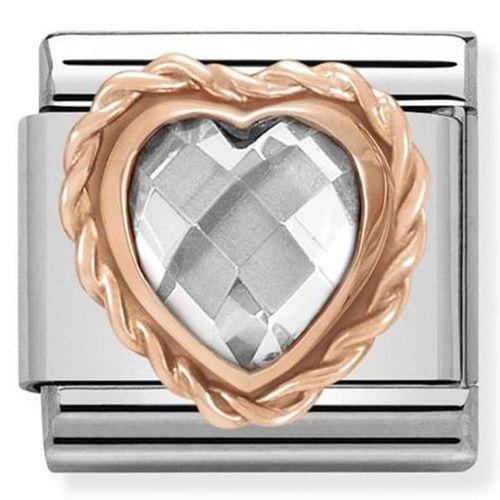 Maillon Nomination classic coeur faceté blanc en Or rose