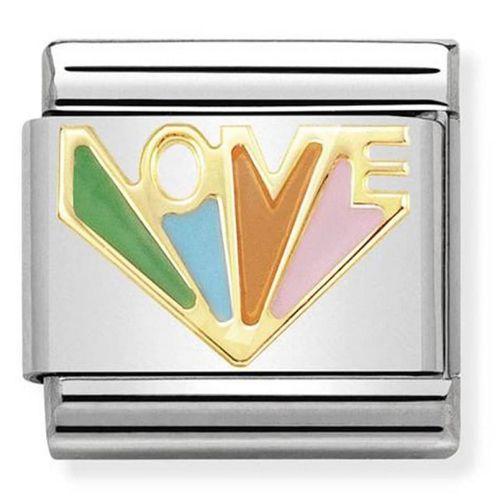Maillon Nomination classic Love coloré en Or