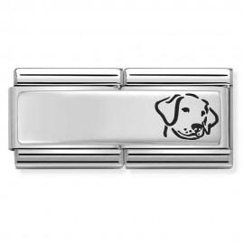 Maillon Nomination classic double Plaque chien en Argent