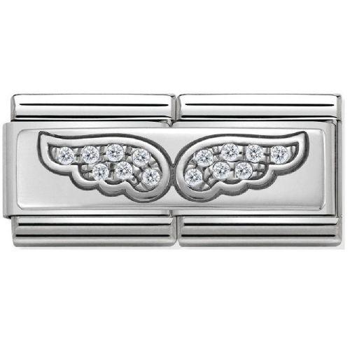 Maillon Nomination classic double Plaque ailes en Argent