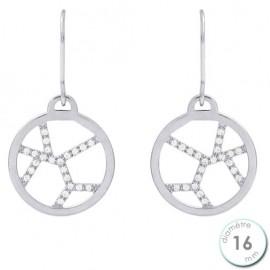 Boucles d'oreilles Les Georgettes précieuses motif girafe finition argent diamètre 16 mm