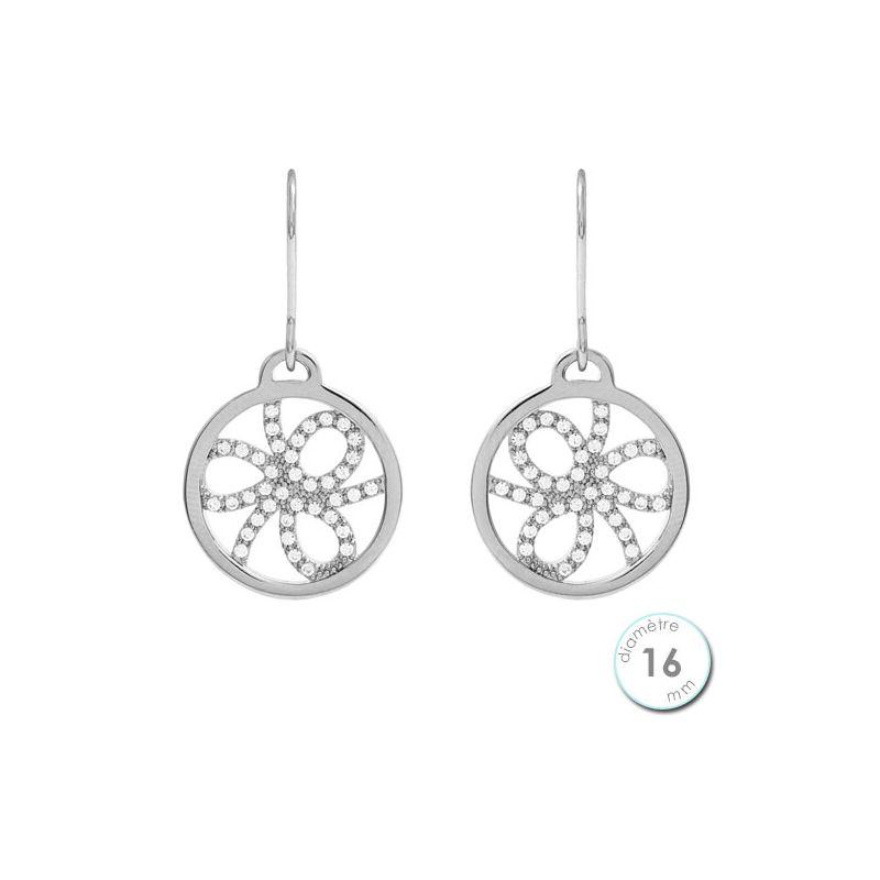 Boucles d'oreilles Les Georgettes précieuses motif pétales finition argent diamètre 16 mm