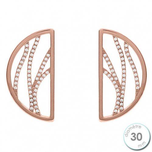 Boucles d'oreilles Les Georgettes précieuses motif perroquet finition Or rose diamètre 30 mm
