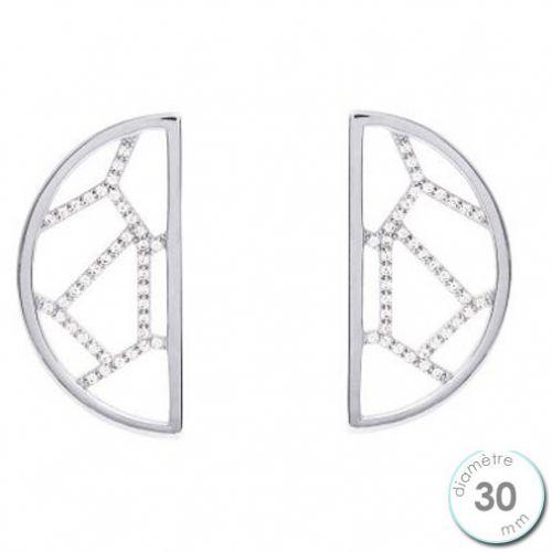 Boucles d'oreilles Les Georgettes précieuses motif girafe finition argent diamètre 30 mm