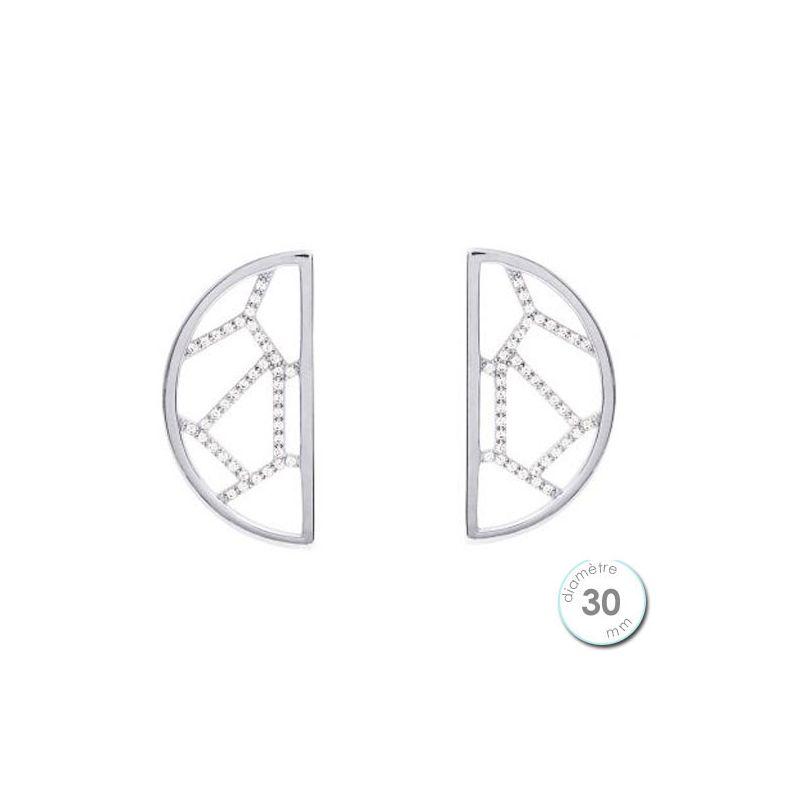 Boucles d'oreilles Les Georgettes motif girafe finition argent diamètre 30 mm