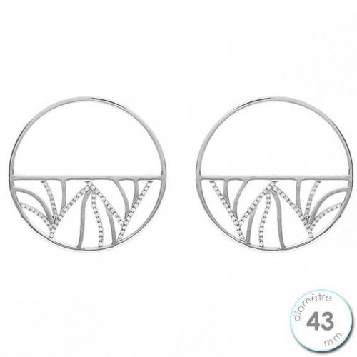 Boucles d'oreilles Les Georgettes motif perroquet finition argent diamètre 43 mm