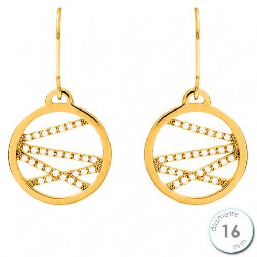 Boucles d'oreilles Les Georgettes précieuses motif liens finition Or jaune diamètre 16 mm