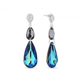 Boucles d'oreilles Spark Argent et cristaux de Swarovski goutte bleu