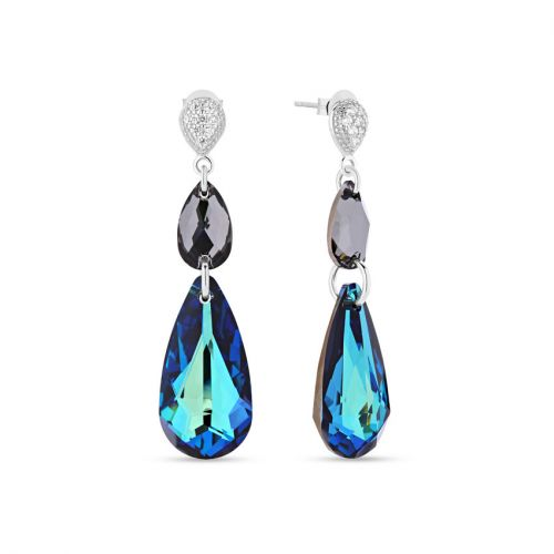 Boucles d'oreilles Spark Argent et cristaux goutte bleu