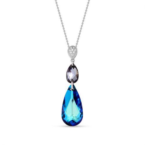 Collier Spark Argent et cristaux goutte bleu