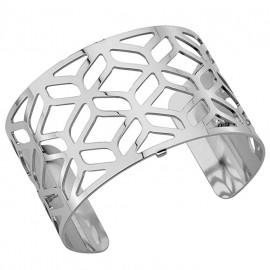 Bracelet manchette Les Georgettes motif alhambra finition Argent large