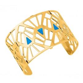 Bracelet manchette Les Georgettes motif Mai Thai finition Or jaune large
