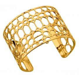 Bracelet manchette Les Georgettes motif crocodile finition Or jaune large