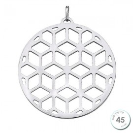 Pendentif femme Les Georgettes finition Argent motif resille diamètre 45 mm
