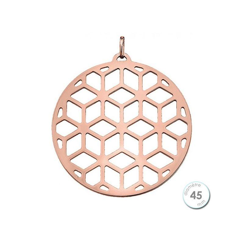 Pendentif femme Les Georgettes finition Or rose motif resille diamètre 45 mm