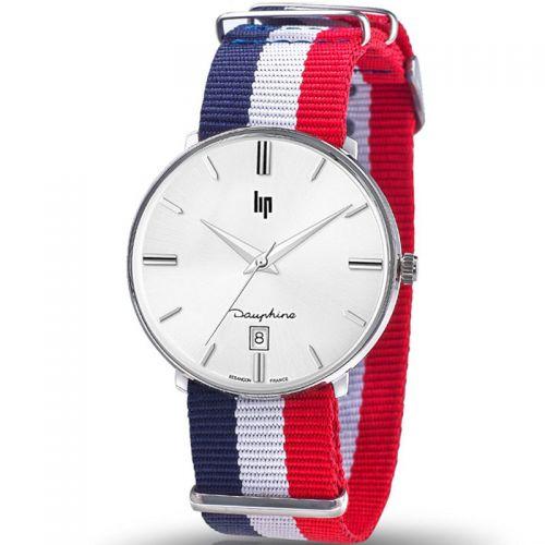 Montre homme Lip Dauphine bracelet nylon bleu blanc rouge