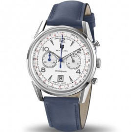 Montre homme Lip Himalaya chrono bracelet cuir bleu