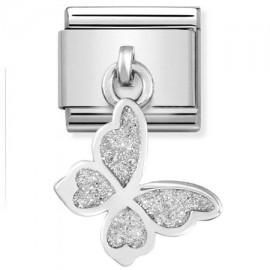 Maillon Nomination classic charms papillon glitter en Argent