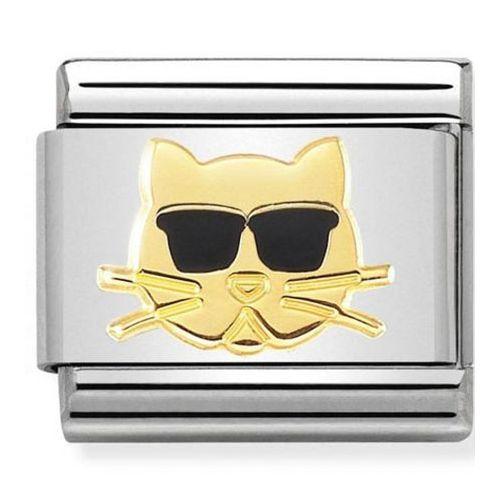 Maillon Nomination classic chat aux lunettes noires